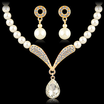 jewelry sets african beads Imitate Pearl gold plated austrian crystal fashion necklace earrings wedding women bridal jewelry - onlinejewelleryshopaus