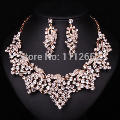 Fashion Clear Rhinestone Bridal Jewelry Sets Necklace earrings Gold Plated Indian Jewellery Wedding Bride Party Prom Accessories - onlinejewelleryshopaus