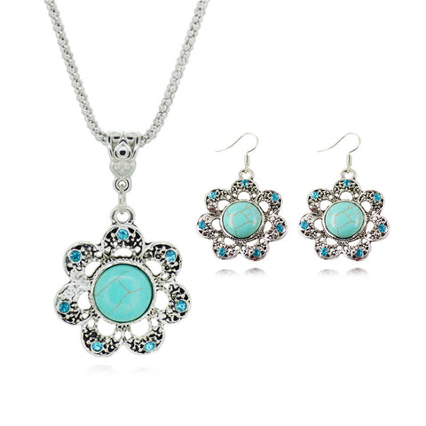 Luxury Silver Plated Sun Flower Shaped Turquoise Statement Necklaces Earrings For Women Fine Bridal Jewelry Sets Hot Sale - onlinejewelleryshopaus
