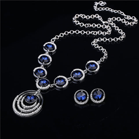 2016 Luxury Brand Bridal Jewelry Sets Silver Plated Full Rhinestone Big Round Blue Crystal Pendant Necklace And Earring Sets - onlinejewelleryshopaus