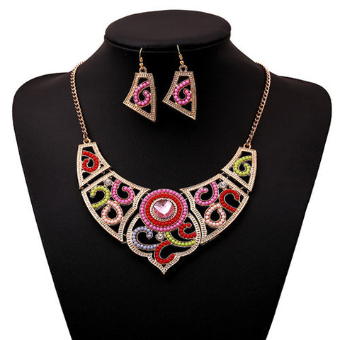 2016 New Fashion heart shape Gem pendant Engagement Jewelry Set geometric Bead Brand Bridal Jewelry Sets For Women S0540 - onlinejewelleryshopaus