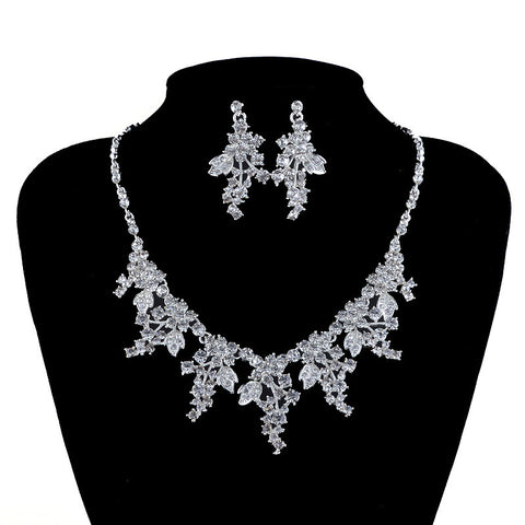 Fashion Silver Plated Women Necklace Earrings Bridal Jewelry Sets Bride wedding Jewellery Party Prom Leaf Dress Accessories - onlinejewelleryshopaus