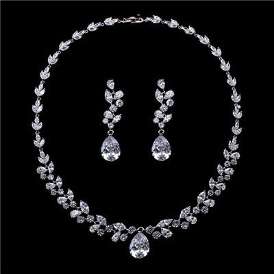 Julie Willow Leaf Luxury Jewelry Sets for Women AAA Cubic Zircon gold plated Necklaces Earrings Wedding Bridal Jewelry JJ10009 - onlinejewelleryshopaus