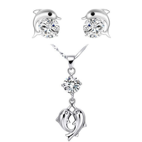 Lovers' Gift Cubic Zirconia Dolphin Necklace Wedding Bridal Jewelry Set Charms Fashion Crystals Earrings for Women Luxury TN299 - onlinejewelleryshopaus