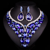 New Luxury Gold Plated Blue Crystal Dubai Bridal Jewelry Set For Brides Necklace Earring Wedding Party Accessories For Women - onlinejewelleryshopaus
