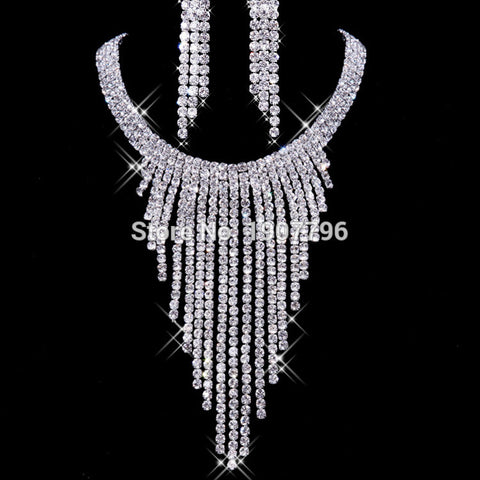 Exquisite New Design Bridal Jewelry Set Top Quality Crystal Luxury Wedding Jewelry Bridal Earring + Necklace Jewelry Sets - onlinejewelleryshopaus