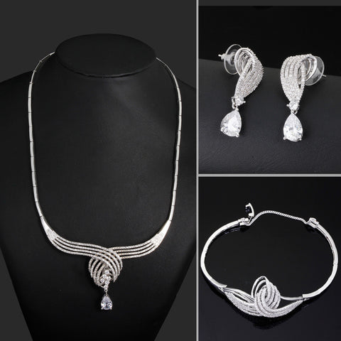 Brand New AAA Cubic Zirconia wedding jewelry sets Cadmium Free Allergy Free Bridal Jewelry Sets - onlinejewelleryshopaus