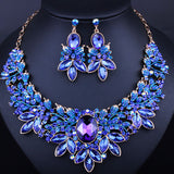 Free Shipping Luxurious Leaf Crystal Imitated Gemstone Bridal Jewelry Sets Wedding Jewelry Necklace and Earrings - onlinejewelleryshopaus