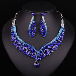Fashion Indian Jewellery Dubai Crystal Necklace Earrings Bridal Jewelry Sets Wedding Accessories Decoration Christmas Gift - onlinejewelleryshopaus