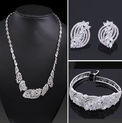 New Look Lady AAA Cubic Zirconia wedding jewelry sets Cadmium Free Allergy Free Bridal Jewelry Sets - onlinejewelleryshopaus