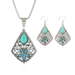 Fashion Silver Plated Pendant Necklaces Earrings Sets of Jewelry Classical Turquoise Bridal Jewelry Sets For Women 2017 - onlinejewelleryshopaus