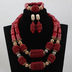 Wine Red African Beads Jewelry Set for Women Wedding Statement Chunky Necklace Bridal Jewelry Set 2017 Free Shipping WB694 - onlinejewelleryshopaus
