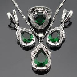 Green Created Emerald White CZ Silver Color Bridal Jewelry Sets For Women Necklace Pendant Drop Earrings Rings Free Gift Box - onlinejewelleryshopaus