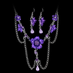 Flowers Necklace Earrings Wedding Jewelry Set Accessories Women Bridal Jewelry Sets Austrian Crystal Chain Jewelry Sets - onlinejewelleryshopaus