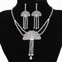 Elegant Luxury Bridal Jewelry Sets For Women Fan Cubic Zirconia Statement Necklace Set African Jewelry Set For Party WS088 - onlinejewelleryshopaus