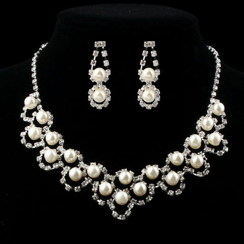 Lady Wedding Simulated Pearl Jewelry Sets Bridal Crystal Necklace Earrings jewellery Set Delicate - onlinejewelleryshopaus