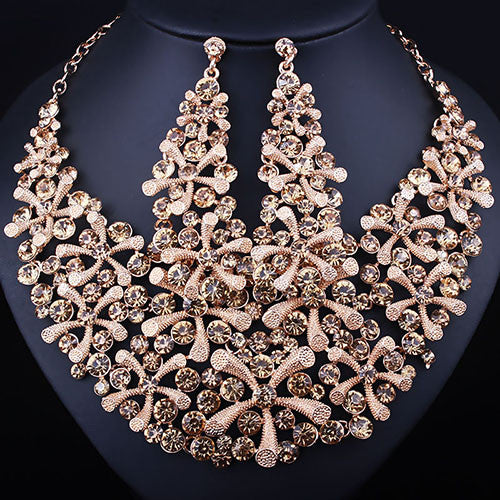 FARLENA JEWELRY Gold plated Full Crystal Rhinestone statement Necklace and Earrings  Set Fashion African Bridal Jewelry 472f69d30951
