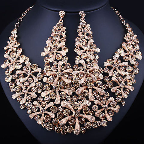 FARLENA JEWELRY Gold plated Full Crystal Rhinestone statement Necklace and Earrings Set Fashion African Bridal Jewelry sets - onlinejewelleryshopaus