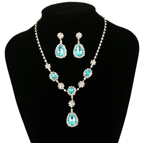 2015 New Design Silver Plated Blue Crystal Necklace Set Earrings Factory Price Wedding Bridal Jewelry Sets - onlinejewelleryshopaus