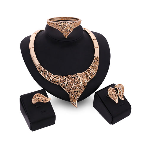 Women Wedding Bridal Jewelry Sets Gold Plated Crystal Hollow Statement Necklace Earrings Bangle Ring Fashion Jewellery Set - onlinejewelleryshopaus