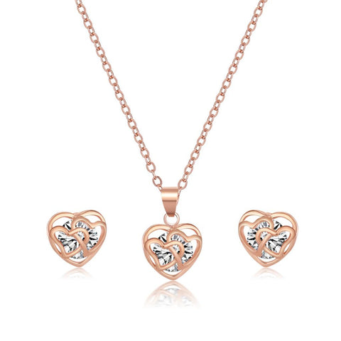 Bridal Jewelry Set Rose Gold/Silver Platedwith Heart Shaped Inlay Cubic Zirconia Stud Earring and Necklace Set for Women - onlinejewelleryshopaus