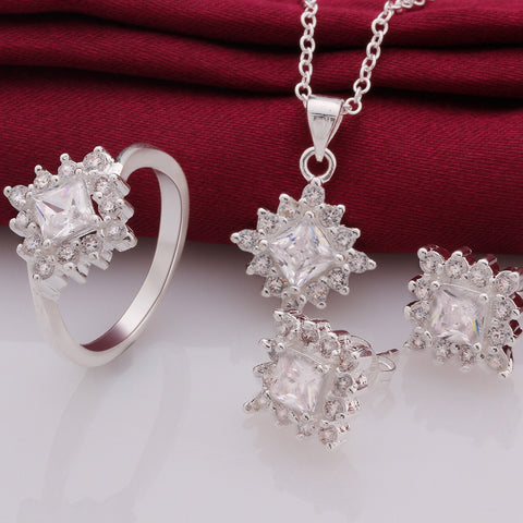 2015 Fashion Bridal Jewelry Sets Silver Crystal Accessories Zircon Necklace Earrings Ring Top Quality Wedding Gifts - onlinejewelleryshopaus