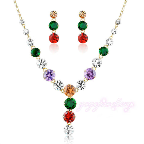 New Fashion Multi-color Crystal Wedding Bridal Jewelry Set  Gold Plated N913 - onlinejewelleryshopaus