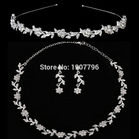 Bridal Jewelry Sets European Bridal Necklace & Earrings & Headband Three-piece For Romantic Wedding - onlinejewelleryshopaus