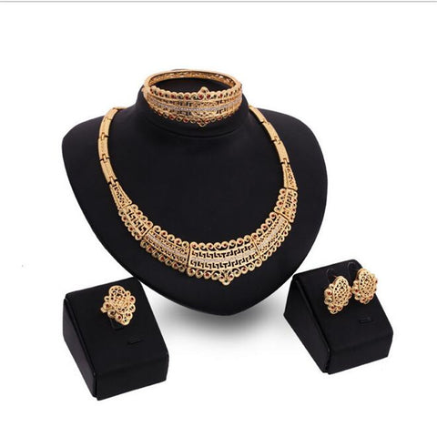 Fashion Vintage Jewelry Gold Plated Wedding Set Necklace+ Bracelet+Earrings Bridal Jewelry Sets Gift S0133 - onlinejewelleryshopaus