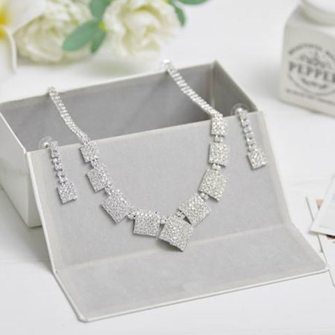ZOZHI Silver Color Square Crystal Bridal Jewelry Sets Pendant Necklace Drop Earrings Wedding Jewelry Accessories Christmas Gift - onlinejewelleryshopaus
