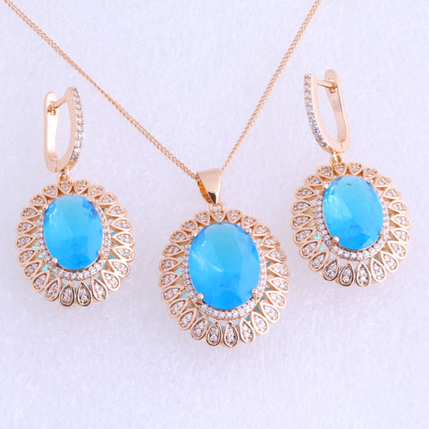 Aesthetic Blue Sky Imitation Topaz & Cubic Zirconia Yellow Gold Plated Bridal Jewelry Sets X0036 - onlinejewelleryshopaus