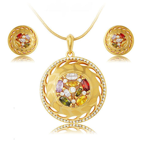 jewelry sets african bridal K gold plated necklace earrings wedding multicolored crystal women fashion nigerian jewellery set - onlinejewelleryshopaus