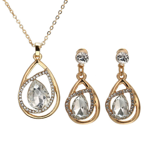 Luxury Bridal Jewelry Sets Gold Plated with Unique Shaped Inlay Cubic Zirconia Earring and Jewelry Set for Women Party - onlinejewelleryshopaus