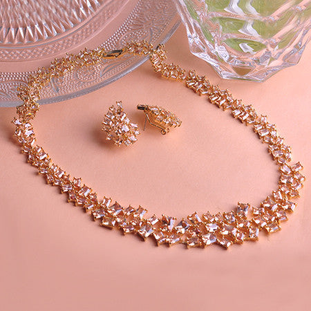 MECHOSEN Upscale Luxury Necklace & Earrings Bridal Jewelry Sets AAA Zircon Colorful Rhinestones Collar Brincos for Women Wedding - onlinejewelleryshopaus