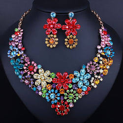 African Bridal Jewelry Flowers shaped Crystal Necklace and drop Earrings Fashion Wedding Prom Jewelry Sets - onlinejewelleryshopaus