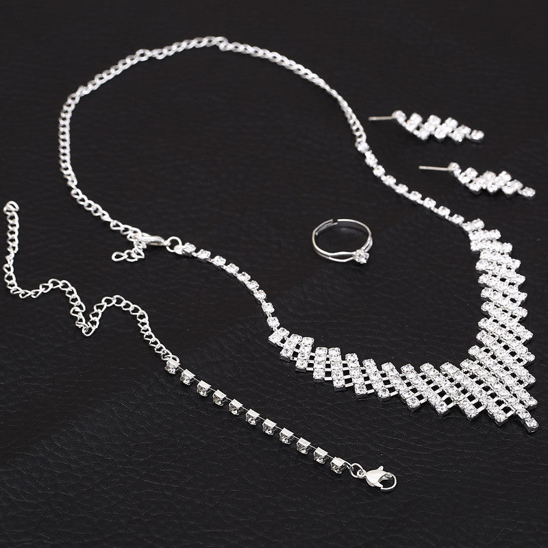Bridal jewellery Sets Luxury Silver Austrian Crystal Bridal Jewelry Sets  for Women Wedding Ring Earrings Bracelets Necklace African Beads Jewelry  Sets ... baba12b520b9