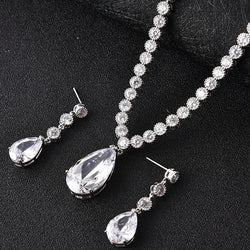 lingmei New Design Teardrop Wheat Imitated Gemstone Crystal Wedding Bridal Jewelry Set including Necklace Earrings - onlinejewelleryshopaus