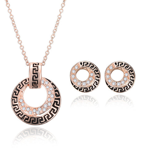 NEW Fashion Rose Gold Jewlry Set Austria Crystal Pendant Necklace Stud Earrings Bridal Jewelry Set Party Luxury Jewellery - onlinejewelleryshopaus