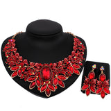 African Jewelry Set luxury Color Crystal Leaf Shaped Necklace and Earrings Fashion Bridal Jewelry sets - onlinejewelleryshopaus