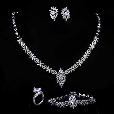 New AAA Cubic Zirconia Clear Stone Bridal Jewelry sets Allergy Free Lead Free 18k Gold and Platinum Plated Wedding Jewelry Sets - onlinejewelleryshopaus