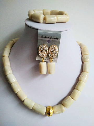New White Coral Gold Finding Necklace Bracelet Nigerian African Wedding Coral Beads Bridal Jewelry Sets GL658 - onlinejewelleryshopaus