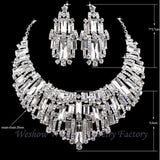 Bridal jewelry sets rhinestone Austrian Crystal wedding party necklace earrings set silver plated Cubic stone Women jewelry - onlinejewelleryshopaus