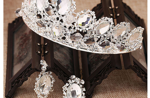2016 New High Quality Fashion Silver Plated Crystal  Crown Earrings Bridal  Jewelry Sets For Wedding  Free Shipping - onlinejewelleryshopaus