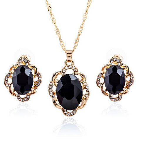 3pcs Sets Women Girls Big Blue Black Crystal Gold Metal Flower Pendant Choker Necklace Clip Earring Wedding Bridal Jewelry NK265 - onlinejewelleryshopaus