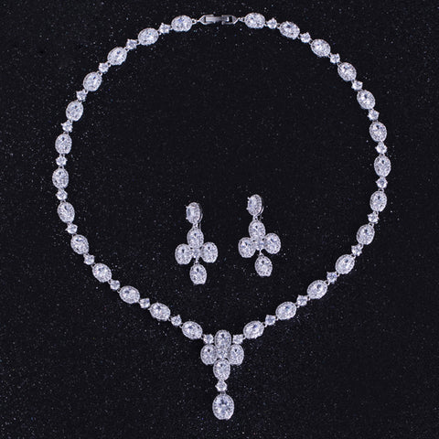 DOKOL Luxury Bridal Jewelry Sets White Oval Shape Cubic Zirconia Elegant Platinum Plated Wedding Necklace Set for Women DKS0055 - onlinejewelleryshopaus