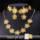 Flower Necklace Bracelet Earrings Set For Women Vintage Gold Plated Charms Bridal Jewelry Sets NEH1112 - onlinejewelleryshopaus