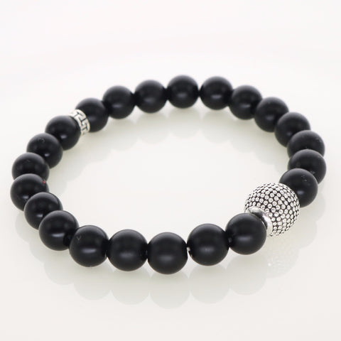 Men Gift Black Matte Stone Beads With Silver Plated Ball Strand Bracelets Fashion Jewelry - onlinejewelleryshopaus