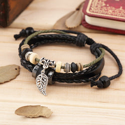 Wholesale Women Men's Black Leather Adjustable Faith Bracelet Handmade Jewelry Cuff - onlinejewelleryshopaus