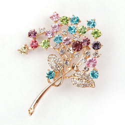 New Arrival Elegant and Beautiful Crystal Diamante Flower and Leaf Brooches in assorted - onlinejewelleryshopaus