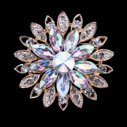 New Arrival Beautiful AB Crystal Daisy Flower Design Fashion Brooches in Gold Plated - onlinejewelleryshopaus
